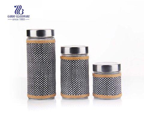 Large glass jar with decorative