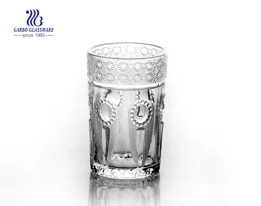 Arabic engraved glass cups tumblers for tea coffee drink