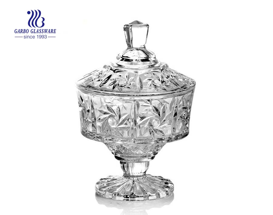 Candy Pot de cristal con patas con tapa para boda