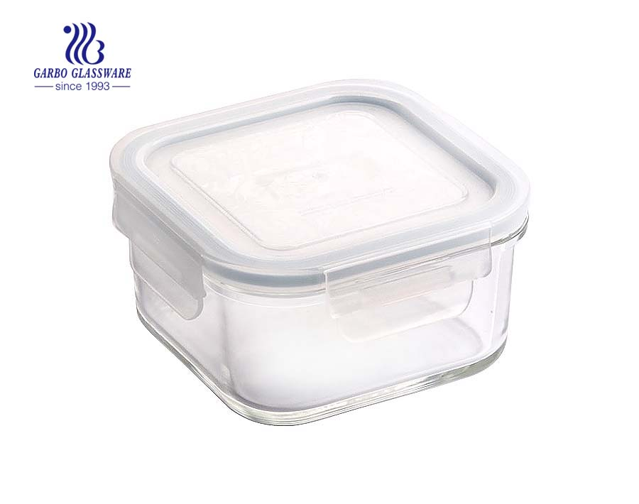 China manufacture square glass food container with sealed lid