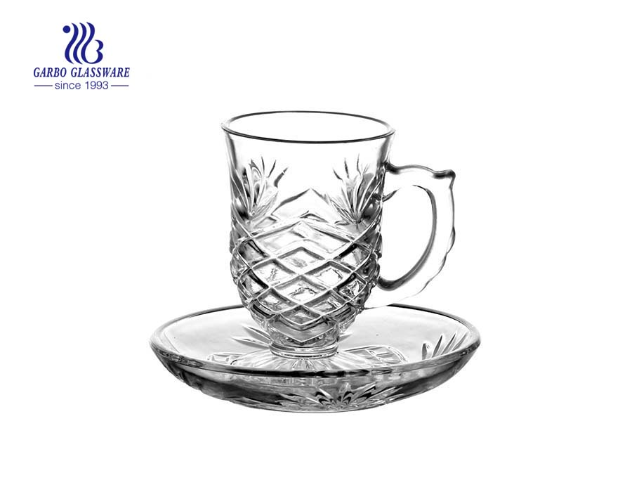 90ml glass tea set with saucer