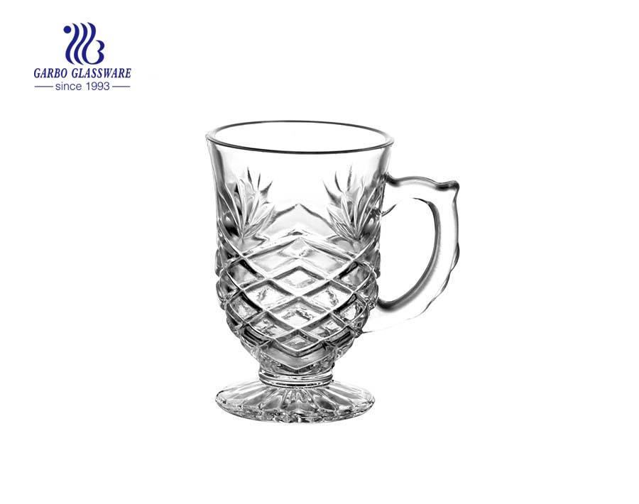 clear tea glass mug with handle wholesale glass cups