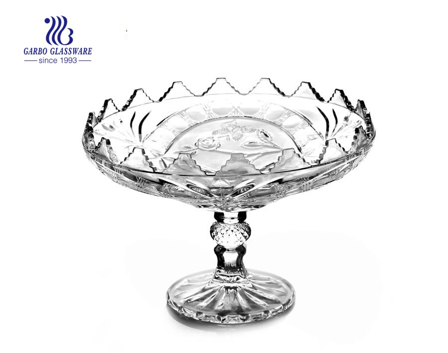 9'' Glass Plate with Stand for serving fruit