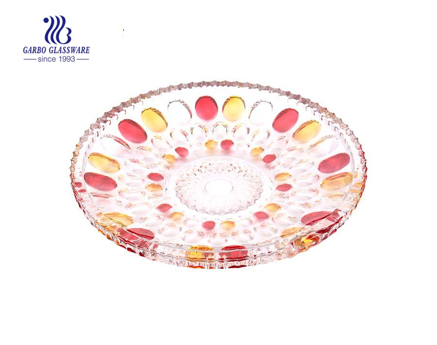 12'' Glass Fruit Bowl with Sprayed Dot Design