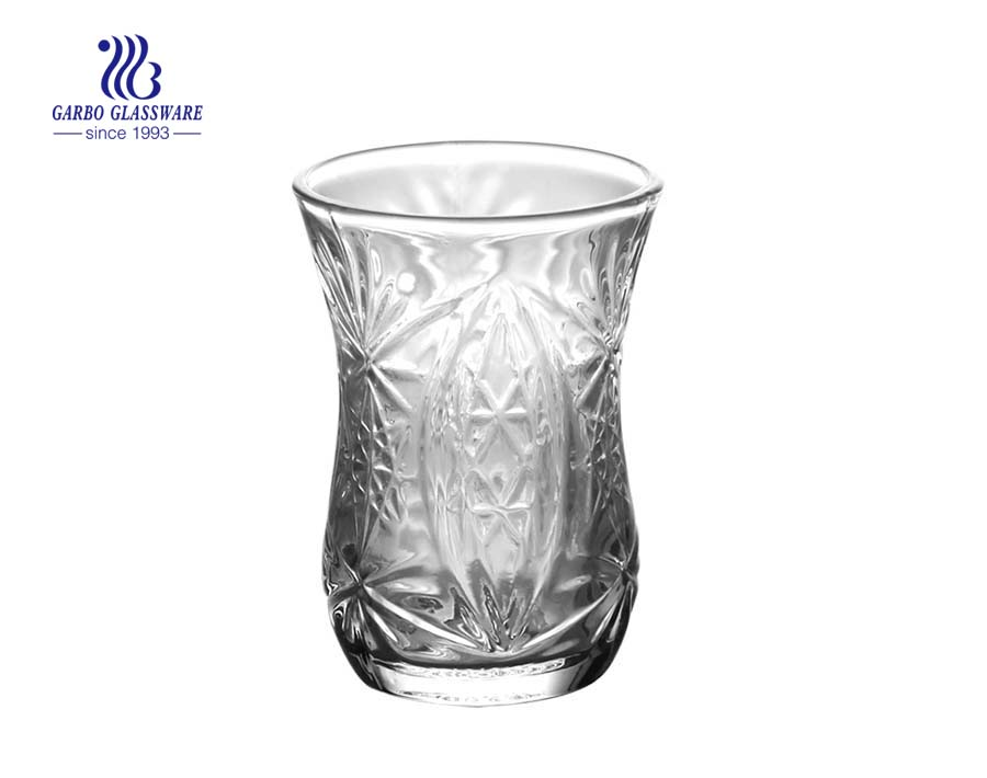 Arabic engraved glass cups tumblers for juice drink