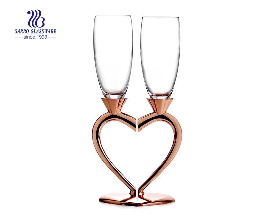 China factory heart design double champagne flutes
