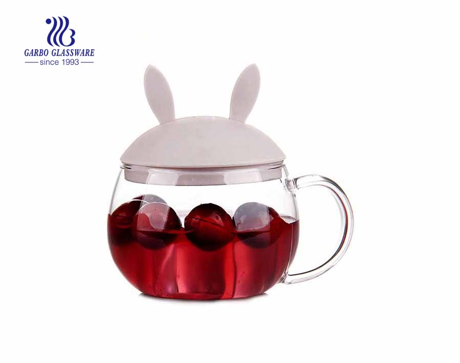 600ml Silicone lid single wall glass tea mug