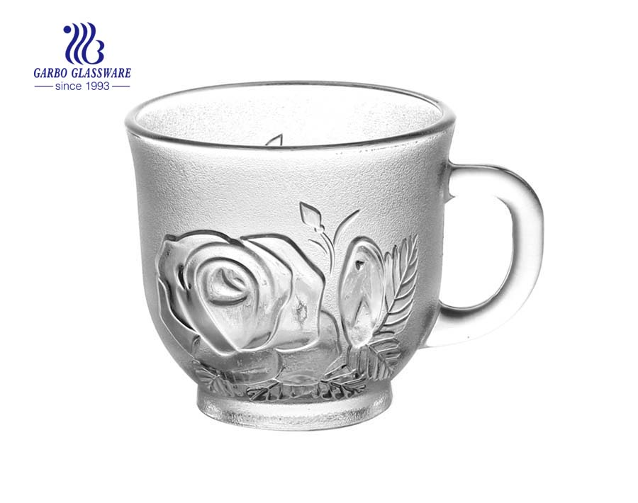 200ml glass tea cups with rose design
