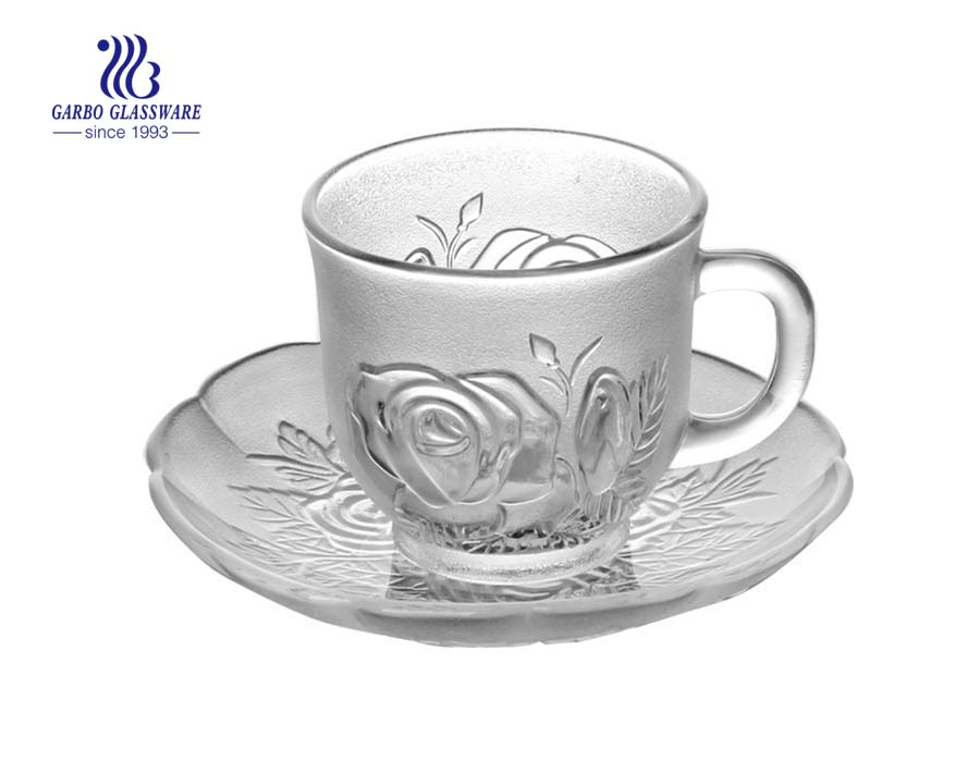 tea drinking glasses with saucer for set