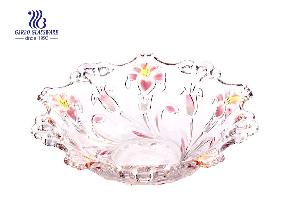 10.24'' Glass bowl with glory spray design