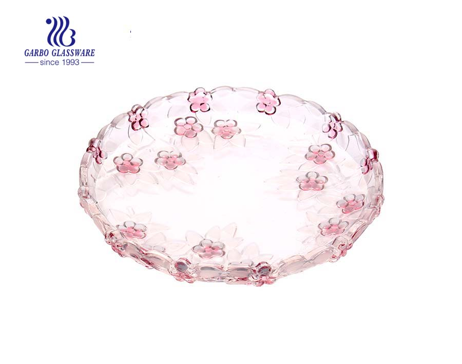 Glass Fruit Plate with Sprayed Rose design