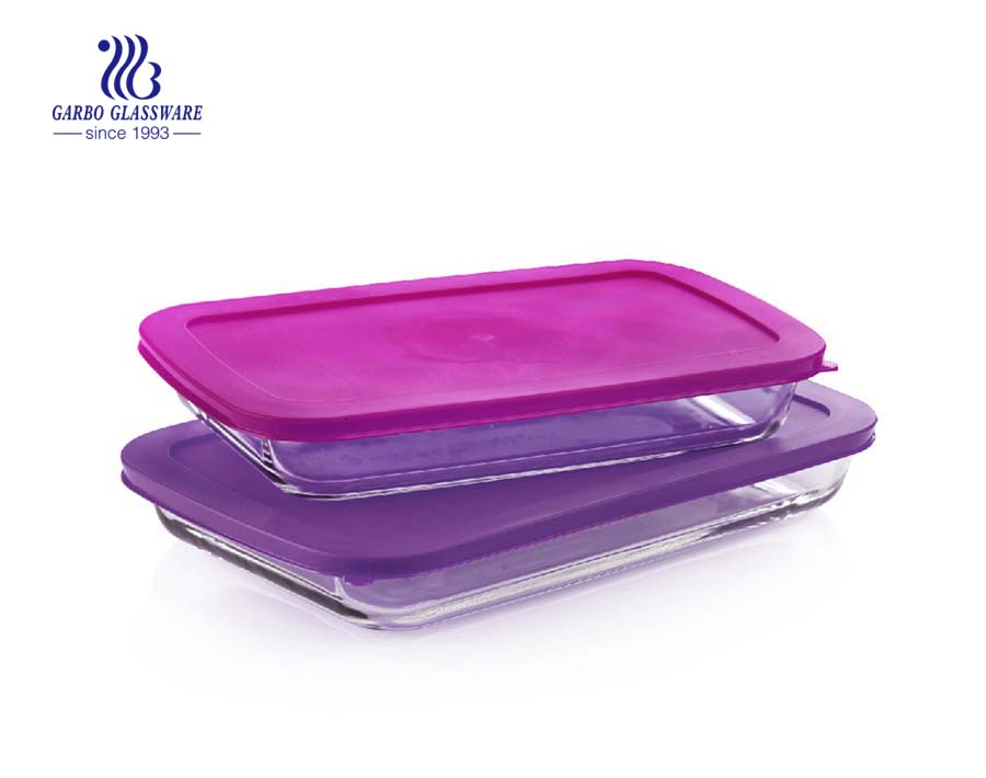 wholesale glass baking dish with green silicone lid