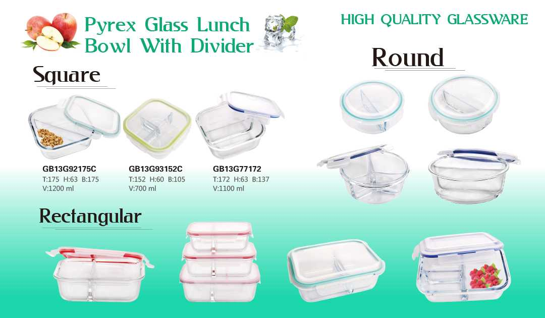 The most popular glass lunch box with different compartment divider