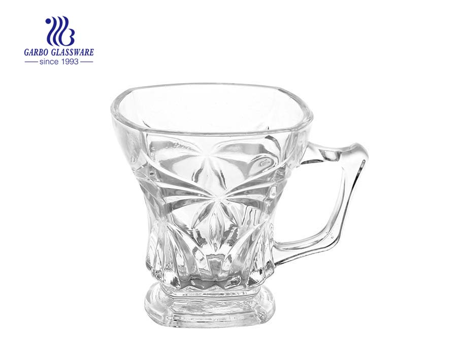 125ml mug glass with foot for drinking tea