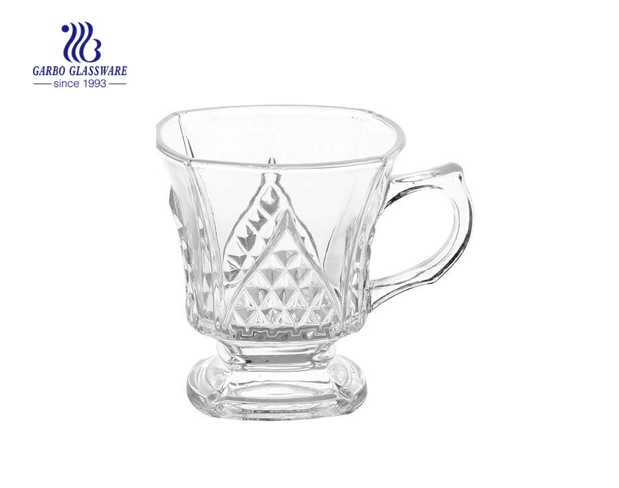footed 125ml clear glass coffee mug with handle