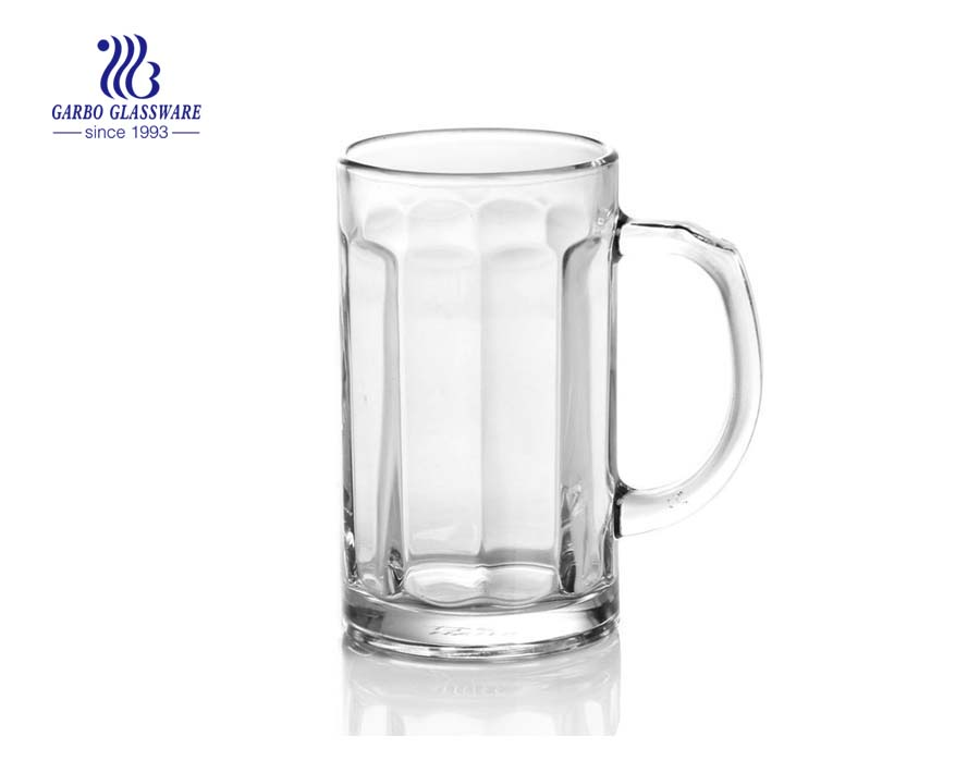 big capacity 500ml clear beer glass with handle