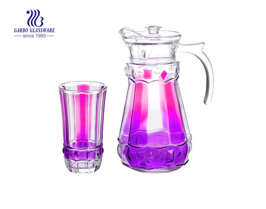 Wholesale banquet party use spray colorful glass drinking jug set for water, juice