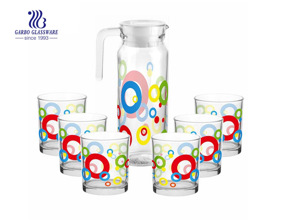 Beautiful printing 7pcs glass drinking set glass pitcher and 6 cups
