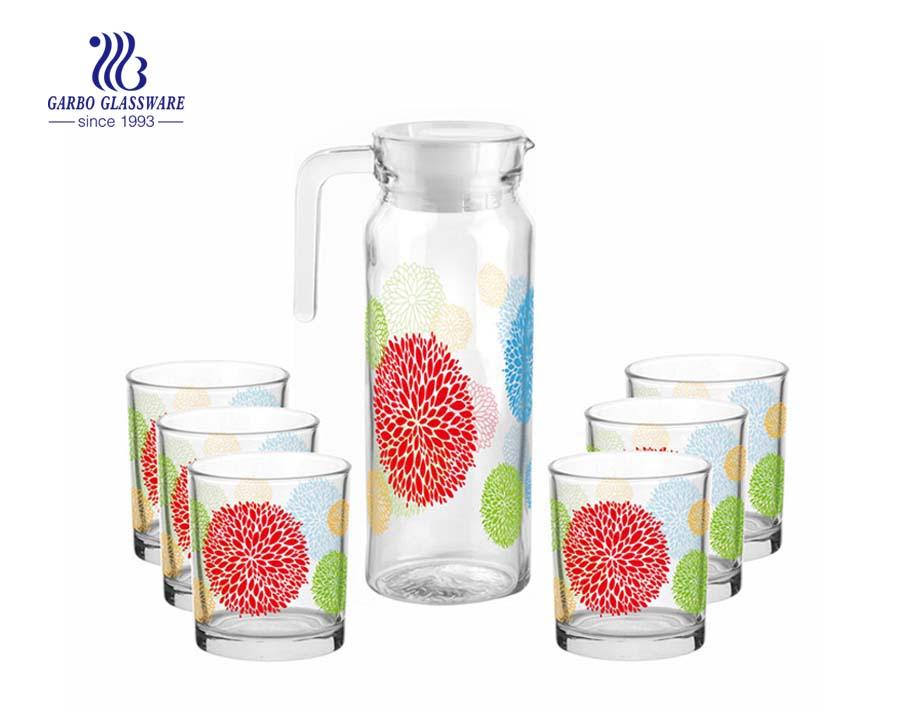 Heimgebrauch Kantine 5pcs Glas Krug Wassergetränk Trinkset