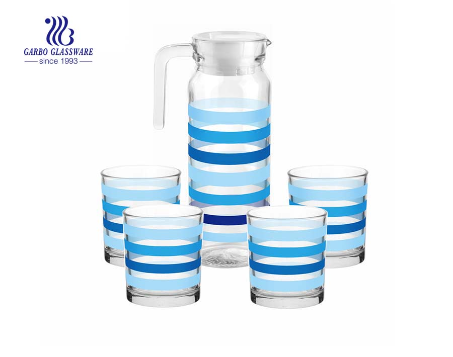 Home use canteen 5pcs glass pitcher water beverage drinking set