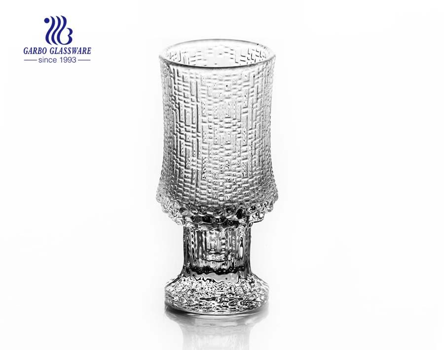 125 مل كأس زجاجي محفور مع ساق أساسية