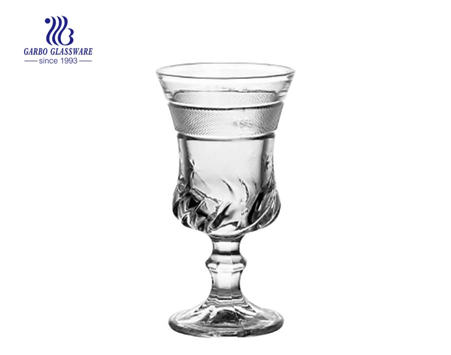 120ml juice drinking glass goblet with high white clear quality