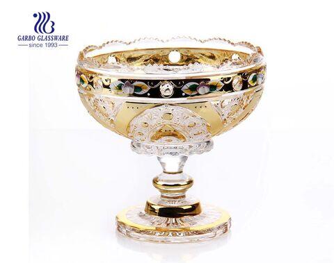 7.01'' Glass Vasa with Golden Planting & Ceramic flower