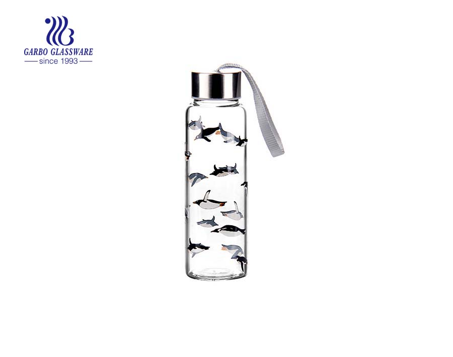 280ml Printing Lovely Design Glass Water Bottles Wholesale