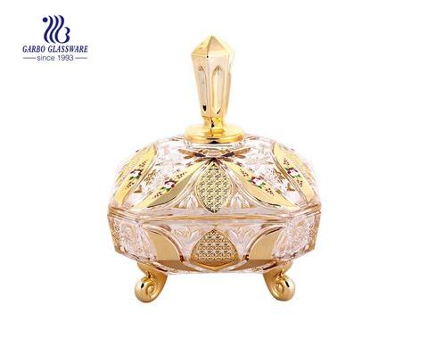 Frascos de vidro dourados dos doces / frascos do armazenamento / cartucho de vidro