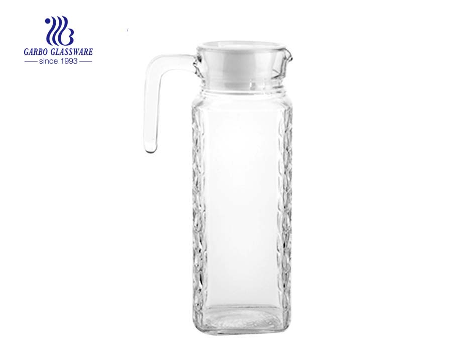 Transparent 1L glass pitcher with handgrip china factory wholesale
