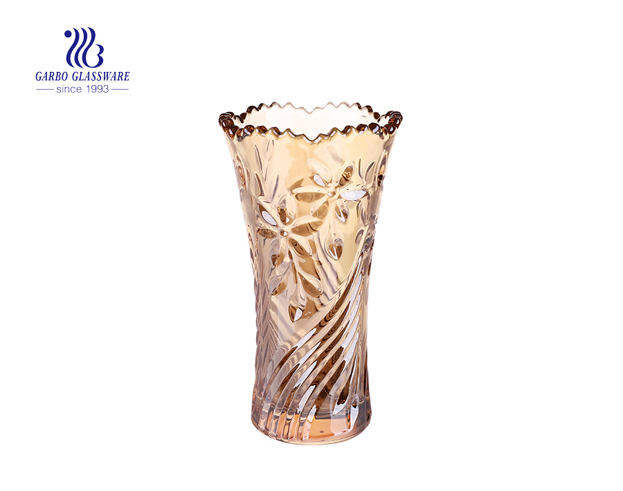 Royally glass vase with champagne color plating for home decoration