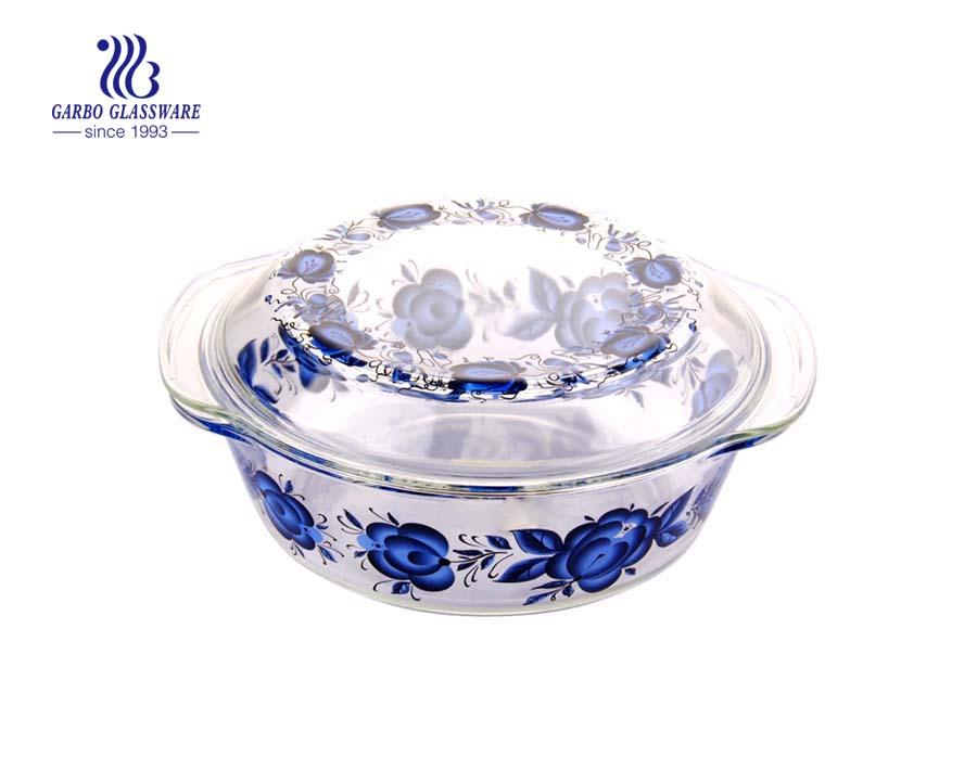 Großhandel Glasschalen Hot Selling geprägte Kristallglas Salatschüsseln mit großer Blume