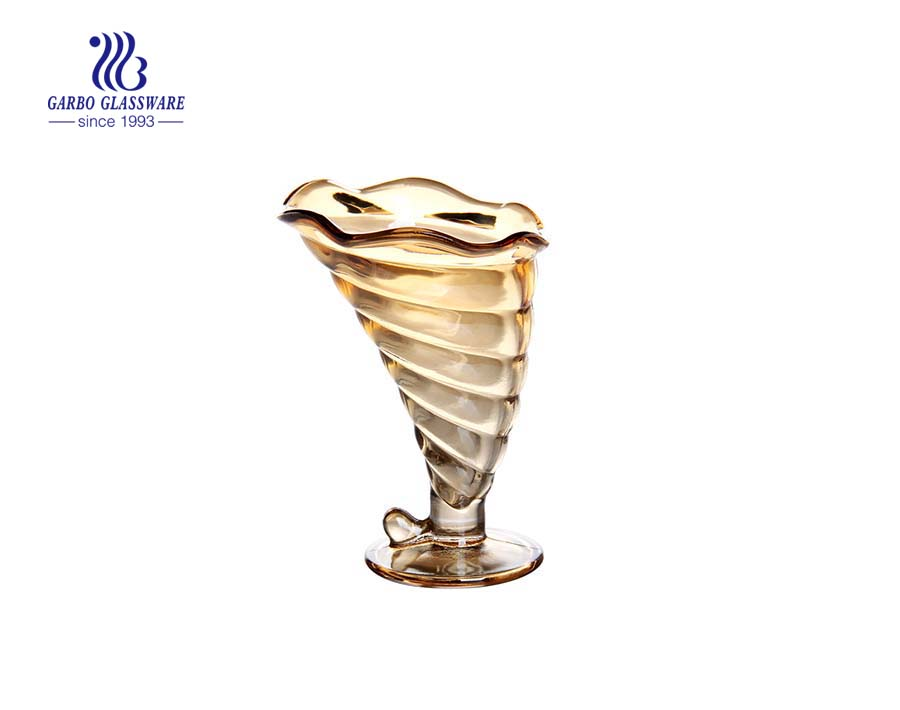 Wholesales Classical Style Printing Color Elegant Glass Ice-cream Cup