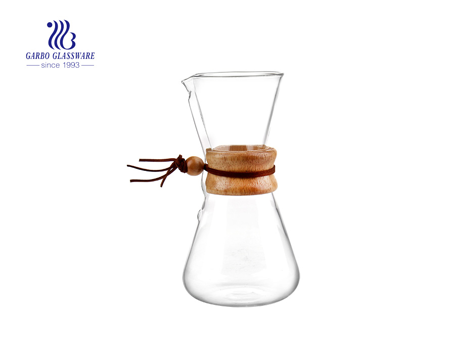 Bamboo base new design pyrex glass coffee maker