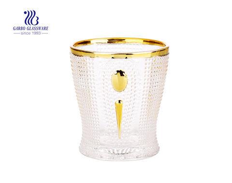 9oz de vidro projetos dourados copo de suco de uísque com preço de atacado