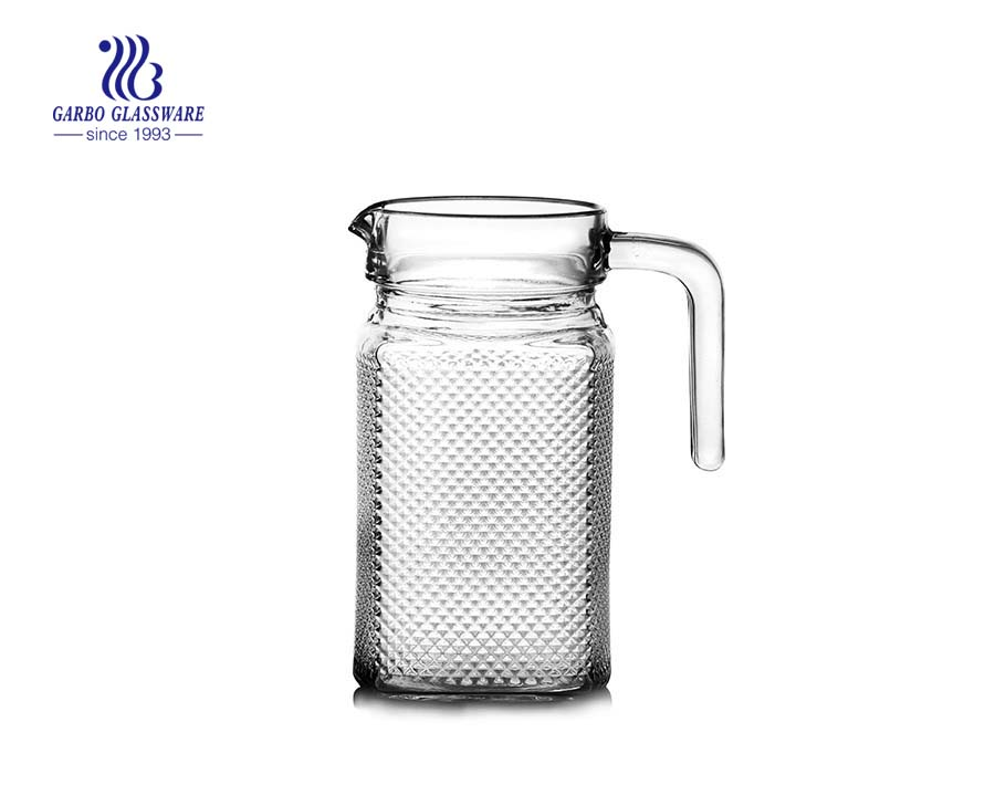 China glassware factory transparent 1L glass pitcher with handle