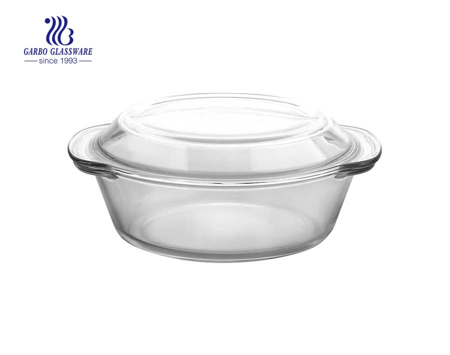 1L Hyacinthine flower decal microwave glass baking bowl with decal lid