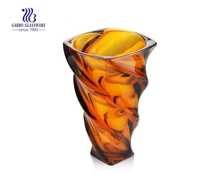 Amber color home decoration glass flower vase for holiday gift