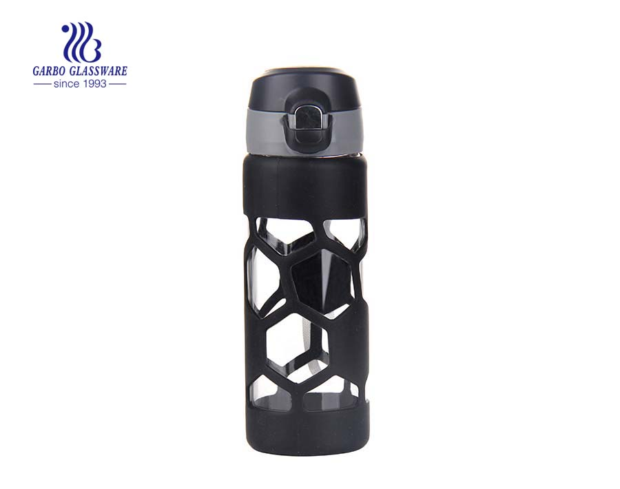 Hot sale 450ml glass tea bottle with insulated cloth sleeve