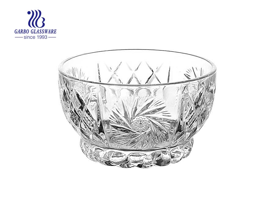Hot Selling Classical Design Eco-Friendly Transparent Engraved Glass Salad Bowl