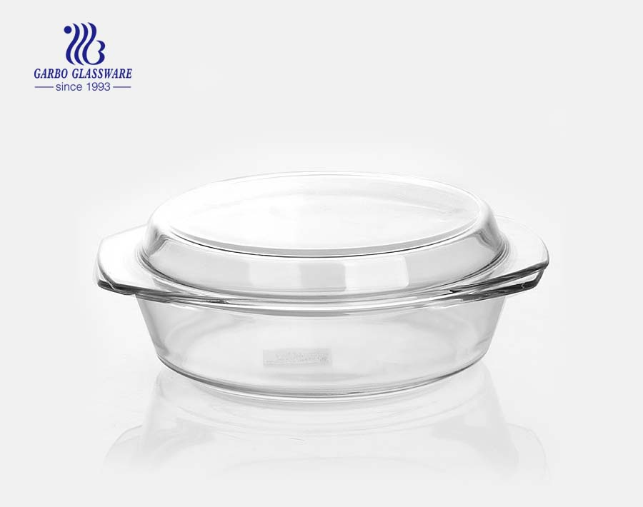 Transparent Round Shape 2L Oven Borosilicate Glass Bowl with Lid