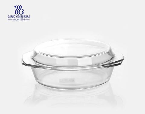 Bacia de vidro transparente do borosilicato do forno da forma redonda 2L com tampa