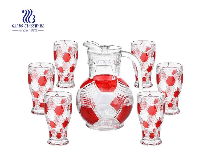 7pcs large football design cool water juice drinking glass pitcher and cups set