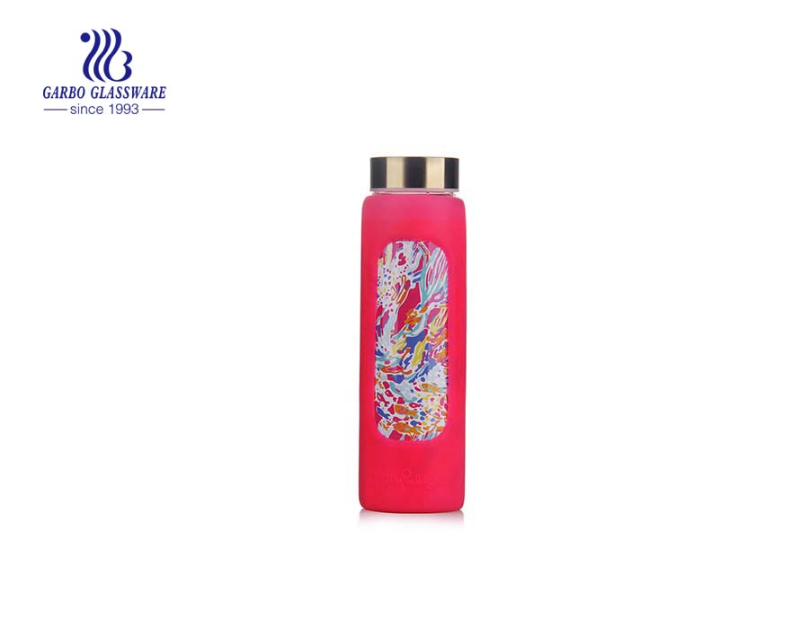 Wholesale 550ml pyrex glass water bottle with cloth sleeve