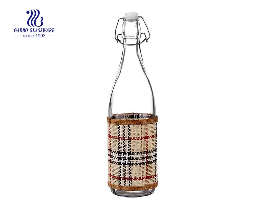 1L clear glass bottle with bamboo cover