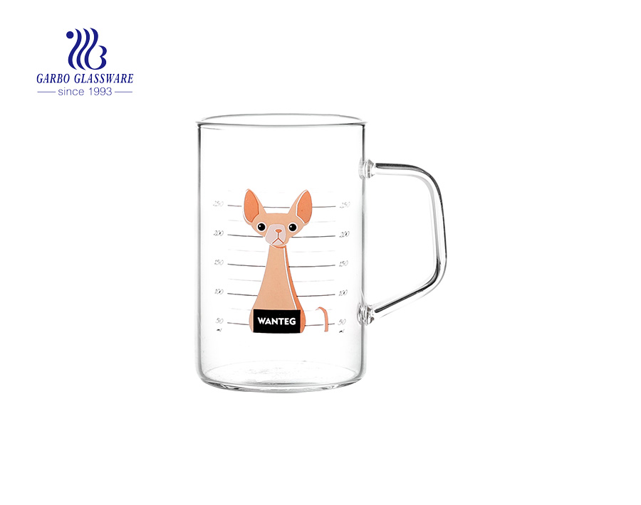 Stock available customized decal logo single wall glass cup 10oz