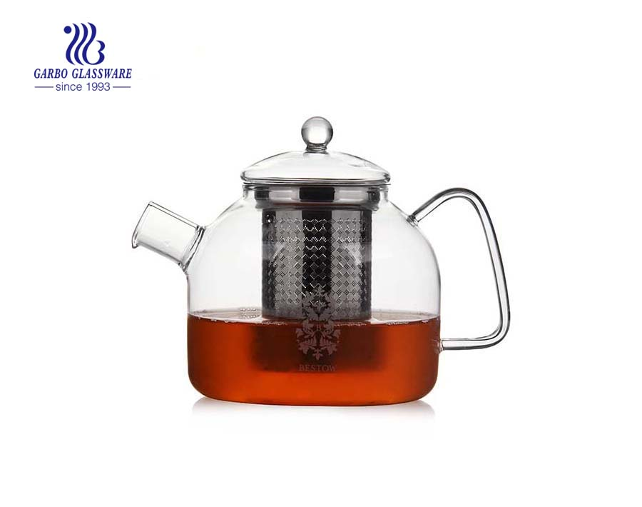 1.3L pyrex glass teapot with infuser for wholesale