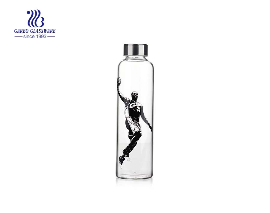 Fashion 600ml Glass Bottle For Drinking Water With Metal Lid