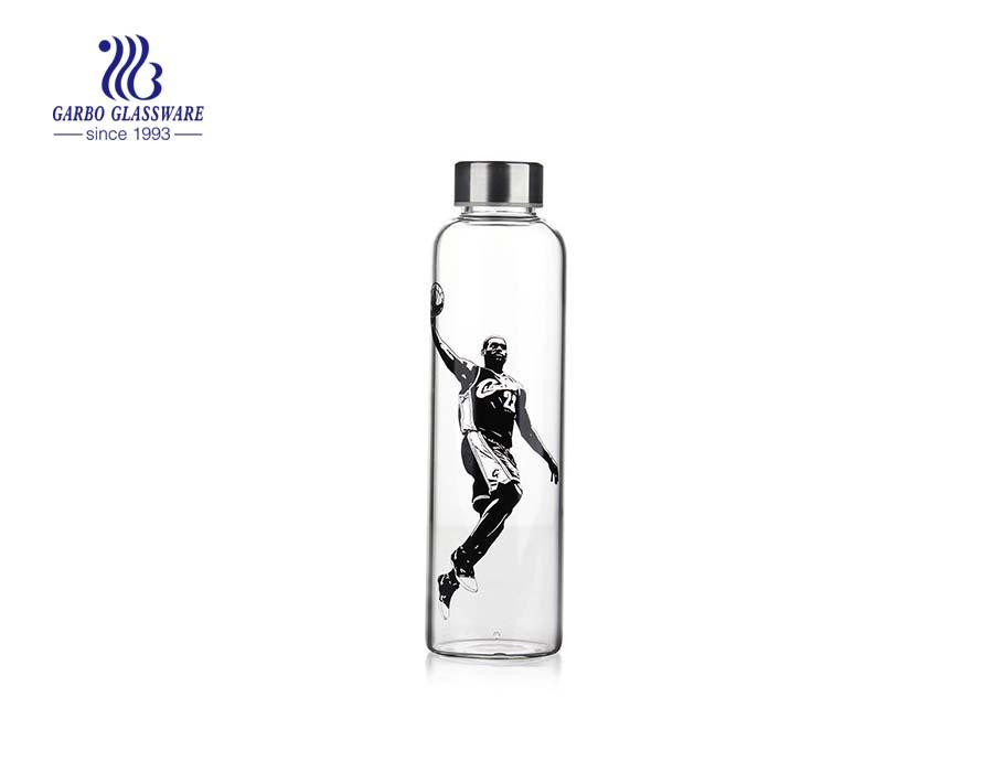 زجاجة زجاجية 600 مل لمياه الشرب مع غطاء معدني