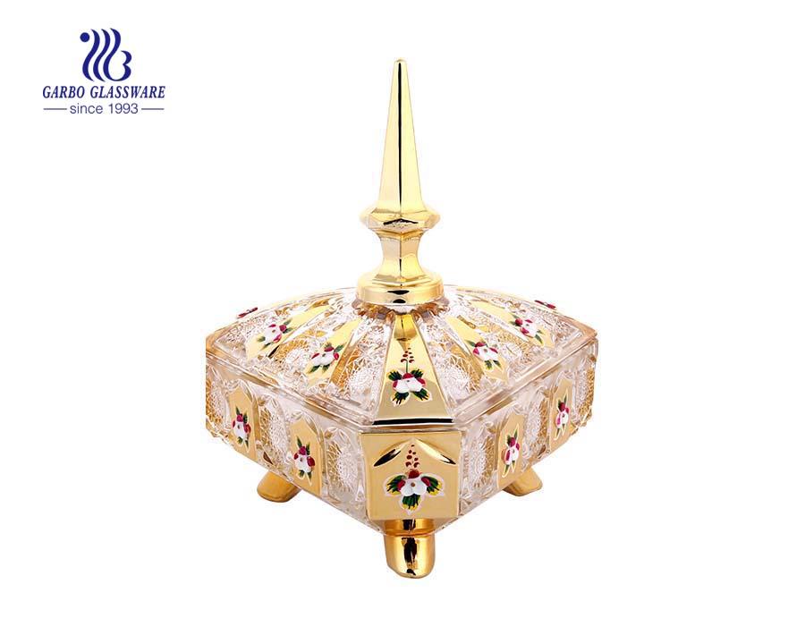 Jarro de doces de vidro decorativo clássico de casamento decalhado dourado
